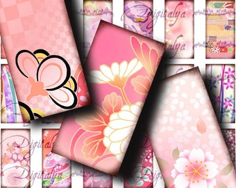 Japanese Design Pink (1) Digital Collage Sheet with Blossoms & Flowers à la mode from Asia - Domino 1x2 inch or smaller - See Promo Offer