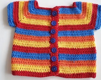 Cheerful crochet cardigan for a girl