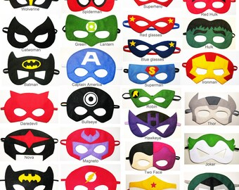 70 felt Superhero masks party pack - for kids ten adults - YOU CHOOSE STYLES - Dress up play Photo props accessory - Birthday Wedding favors