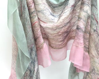 Felted Scarf-Shawl In Stock Fast Ship in Sheer Summery Pinks & Greens of silk and cashmere-soft wool