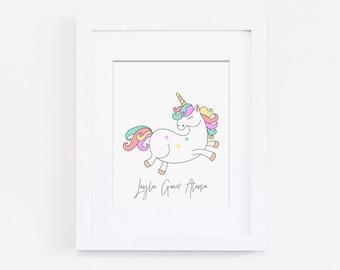 Custom Nursery Art Print, Personalized Nursery Wall Art, Name Art Print, Kids Art, Pastel Nursery Unicorn Nursery, Girls Nursery Unicorn Art