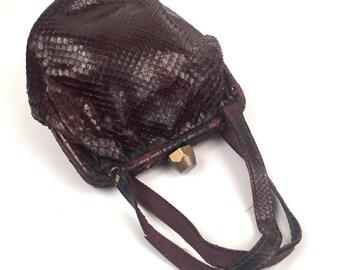 Vintage 1950s Stratfor Original Brown Lizard Top Handle Handbag