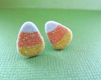 Candy Corn Stud  Earrings With Sparkles