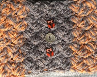 Ear warmer, owl head warmer, crocheted ear warmer