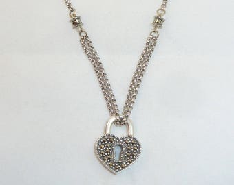 Silver Marcasite Heart Pendant Necklace