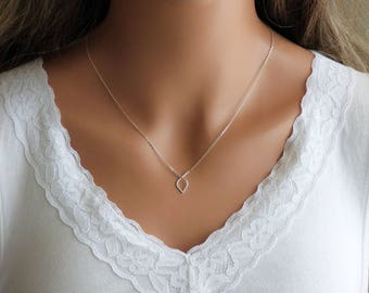 100% Sterling Silver Knot Necklace, Infinity Necklace, Teardrop Necklace, Knotted Necklace, Unique necklaces for women, Drop Necklace