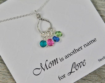 Mom Necklace - Sterling Silver Necklace - Birthstones - Mom Is Another Name For Love - Eternity charm - Birthstone Necklace - Mom Gift