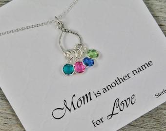 Maman Collier - Collier en argent Sterling - pierres de naissance - maman est un autre nom pour l'amour - charme de l'éternité - collier de Pierre de naissance - cadeau de maman