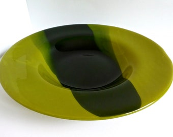 Blue and Green Fused Glass Rimmed Bowl by BPRDesigns