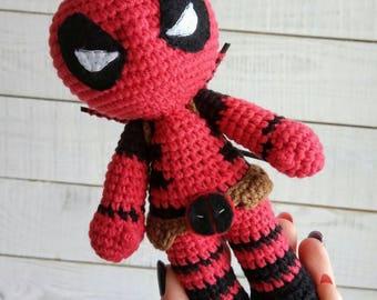 Deadpool crochet doll Amigurumi toy Comics superhero inspired Birthday gift Superhero boys room decor Superhero for babies nursery