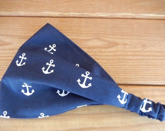 Womens Headband Fabric Headband Summer Fashion Accessories Women Head scarf Yoga Headband in Navy Blue with Anchor print