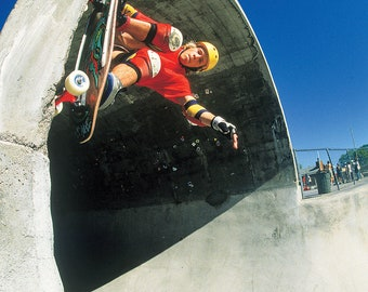 """80s Skate Photo - Chris Miller Grind Up Full Pipe Eighties Skateboarding Photograph 18 x 24 Inch Image on 18X24"""""""