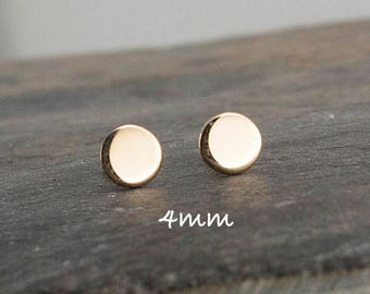 14K Solid Gold Studs, 4mm, Sterling Silver Post Studs, Solid Gold Studs, Gold Earrings, Gold Stud, Polka Dot Stud, Gold Circle Studs