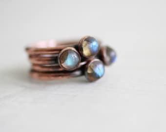 Labradorite Ring Copper Ring Flashy Labradorite Ring Simple Ring Gemstone Ring