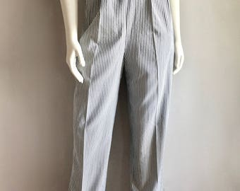 Vintage Women's 80's Striped Pants, High Waisted, White, Gray by Norm Thompson (M/L)