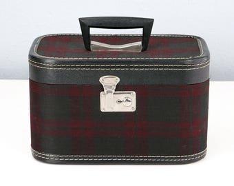 Vintage Plaid Train Case, Small Suitcase, Makeup Case, Cosmetic Case, Vintage Suitcase, Movie Prop