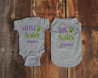 Baby and Dog Matching Shirts- Big Sister Dog Little Sister Baby- Personalized- Baby and Dog Sister Set- Big Sister Dog- Dog Baby Sibling