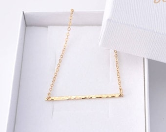 ON SALE Gold Bar Necklace | Hammered Bar Necklace | Minimalist Necklace | Gold Bar Pendant | Simple Dainty Necklace