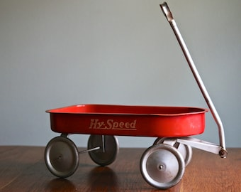 Vintage Hy-Speed Toy Pull Wagon, Small Red Child's Wagon