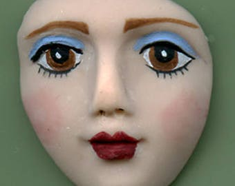 "Polymer Clay  Detailed  1 3/8 "" Art Doll Face Cab with Brown  Eyes MFC 1"