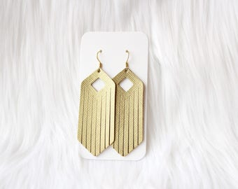 Gold Fringe Leather Drop Earrings, fringe earrings, leather earrings, the leather drop, gold earrings, gold jewelry