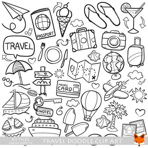 Travel Friends and Family Trip Holidays Summer Doodle Icons