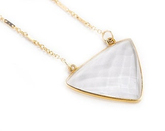 Crystal Quartz Gold Triangle Necklace-triangle necklace, dainty gold, layering necklace, triangle, labradorite, lapis lazuli, gold triangle