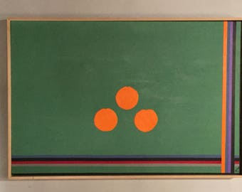 SOLD: 37W X 2 1/2 D X 25L signed Herman Kahan Painting of Lines and Oranges