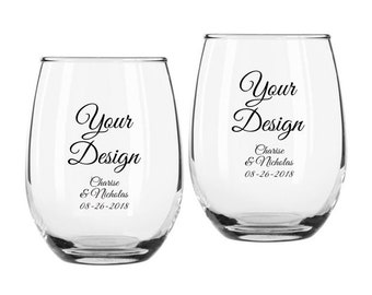 """Set of 12 9-ounce Personalized """"Your Design"""" Custom Stemless Wine Glasses ++ Personalized Glassware ++ Party Favors ++ Custom Wine Glasses"""