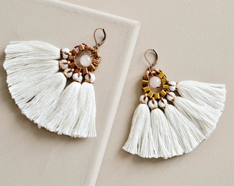 White Tassel Earrings, Fringe Earrings, Boho Chandeliers, Hippie Earrings, Wedding Jewelry, Boho Bride, Wedding Earrings, Boho Wedding