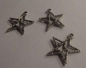 Star pendant Components 3 piece 22mm  star set dark silver Component Destash