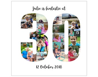 Personalised 30th Birthday Photo Collage Digital File