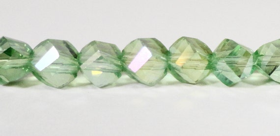 Helix Crystal Beads 6mm Peridot Green AB Faceted Chinese Crystal Glass Beads for Jewelry Making on a 7 Inch Strand with 33 Beads