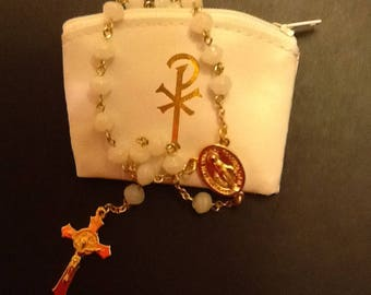 White glass rosary
