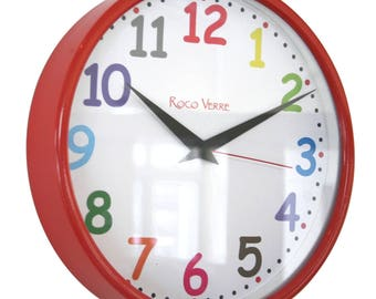 Roco Verre Multi Colour Comic Sans Modern 26cm Wall Clock