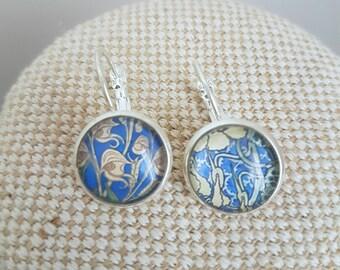 Art nouveau earrings/ silvertone leverback earrings / blue floral cabochon earrings / Belle Epoque print