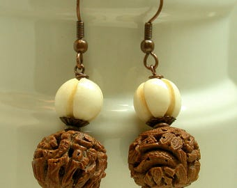 Vintage Chinese Hedaio Buddha Bead Carved Wood Dangle Drop Earrings, Vintage Chinese Carved Bone Beads ,Copper Ear Wires,Copper Bead Caps