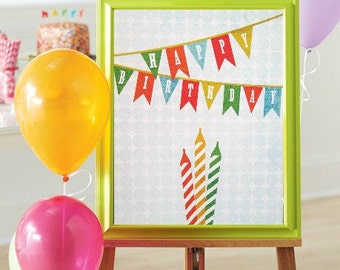 Party Sign Birthday Sign Happy Birthday Banner Print Celebrate Sign Celebrate Print Birthday Party Art Print Table Display Table Sign