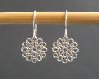 small sterling silver flower earrings tiny filigree drop leverback lever back hook dangle everyday jewelry floral nature delicate dainty 1/2