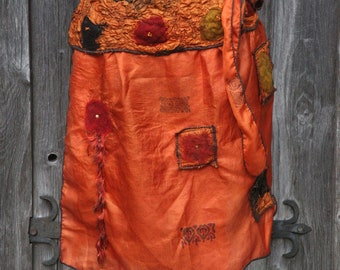 Wrap skirt, pure silk, Nuno Felt, also big size, unique, skirt, textile art, nuno felt, wrap skirt, fancy yarn, vintage silk