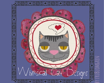 5 Cute, whimsical and fun to make Cat designs: 3 ITH coasters and 2 framed doodle motifs. Machine embroidery designs, appliqué