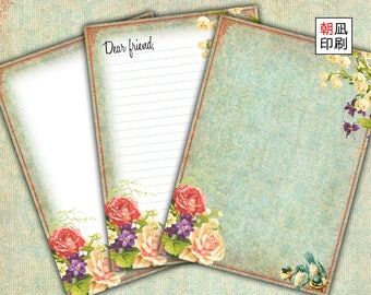 Printable Letter Writing Papers Set for snail mail digital collage sheet instant download vintage rose flower bird stationery journal - L001