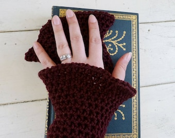 Crochet fingerless gloves, crochet wrist warmers, burgundy, hand knit, ready to ship, winter wear, women's gift idea, accessory