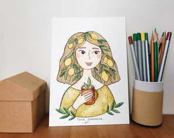 Lemon Girl original watercolor illustration