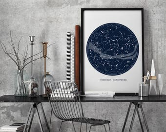 Constellation map, Star map, Gift for her, Contellation print, Constellation art, Star chart, Ursa major, Ursa minor, map of planet