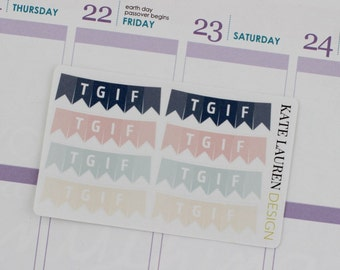 TGIF Banner Stickers, Bunting Stickers, Erin Condren Life Planner Stickers, TGIF Planner Stickers, TGIF Stickers