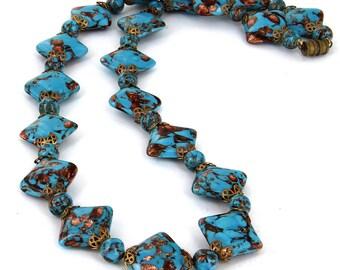 "Vintage Venetian Murano  Aventurine  Gorgeous Turquoise Big  Pillow Bead Necklace  24"""