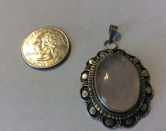 Vintage sterling silver rose quartz pendant badn