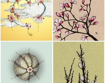 Wall Art for Bedrooms - The Dream Sequence - Set with four 8x8 archival prints - Magnolia, Sea Urchin, Sky, Pussy Willows
