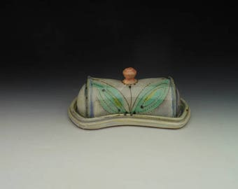 Butter Dish with lid - Green Leaf with Orange Knob / Flower